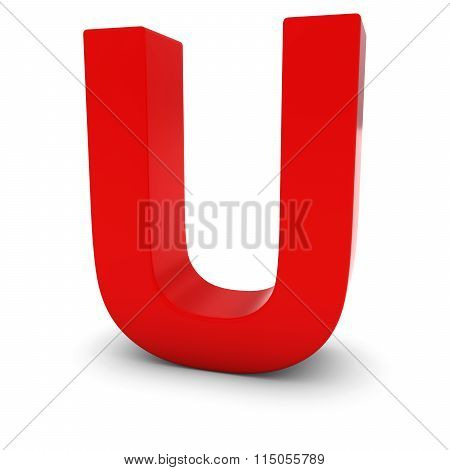 Red Capital U - 3D Letter U Isolated On White