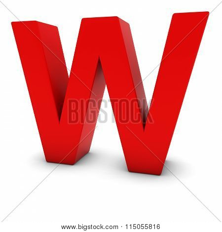 Red Capital W - 3D Letter W Isolated On White