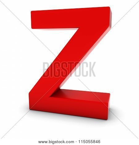 Red Capital Z - 3D Letter Z Isolated On White