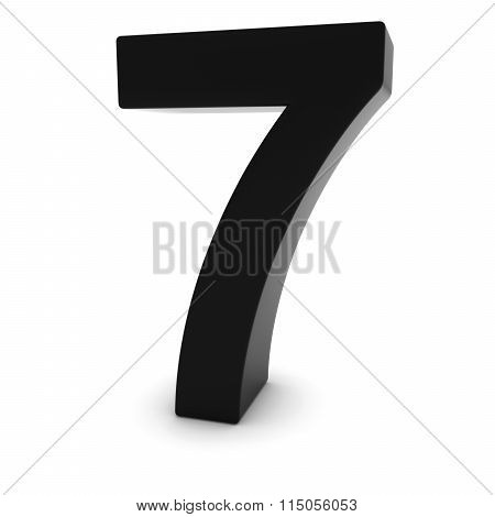 Black 7 - 3D Number Seven Isolated On White