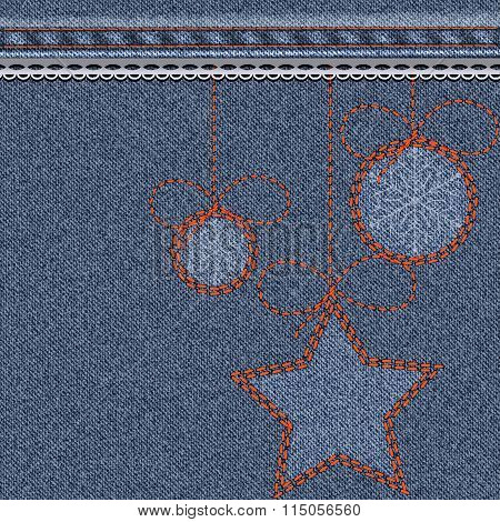 Blue Christmas Background With Denim Texture, Embroidery And Lace. Christmas Toy Balls With Snowflak