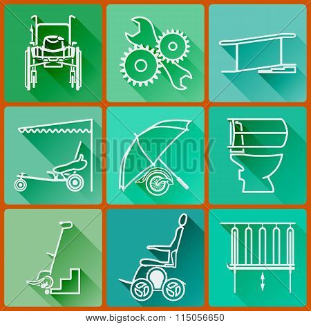 Equipment For Persons With Disabilities. Set Of Colored Icons Flat In A Fashionable Style With Long