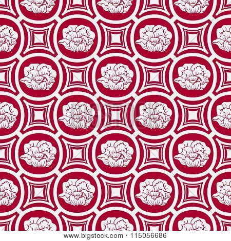 Repeating Floral Pattern In Eastern Style Of Painting. Light Seamless Ornament With Flowers On A Red