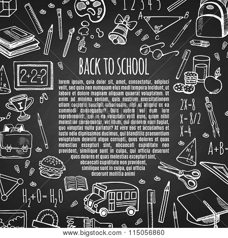 Frame back to school tools sketch on chalk board vector