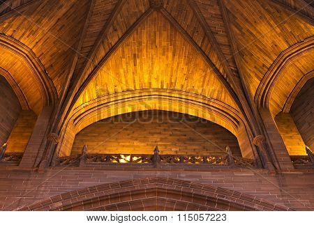 LIVERPOOL 14TH JANUARY 2016. Intricate sandstone ceiling inside Liverpool Anglican Cathedral