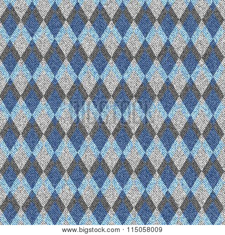 Blue Denim With White Seamless Argyle Pattern.