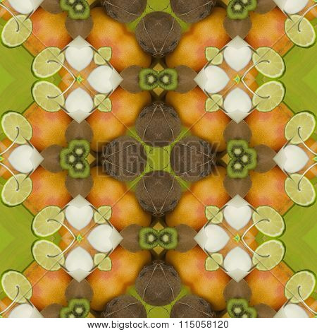 Seamless texture to the dining room tablecloth. Texture lime, kiwi, orange and coconut