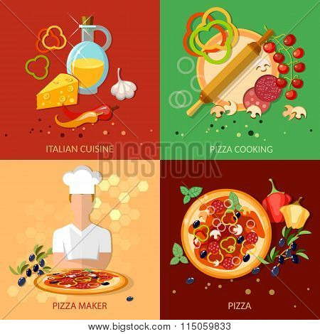 Pizza Ingredients Work Pizzeria Chief Cooking Pizza Vector Set