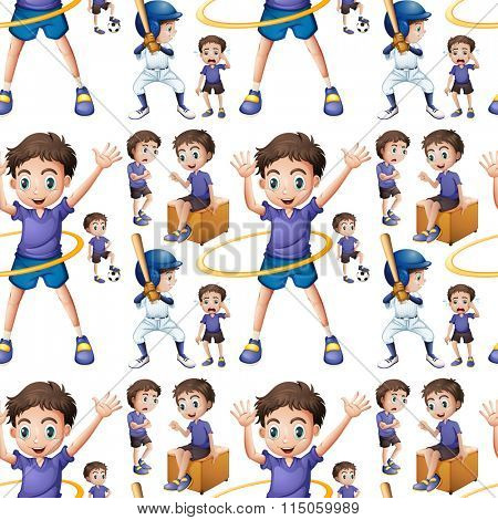 Seamless boy doing different activities illustration