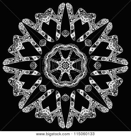 White handdrawn round pattern on black