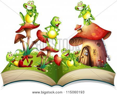 Book with many frogs smiling illustration