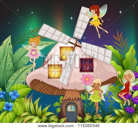 Fairies flying around the mushroom hosue at night illustration