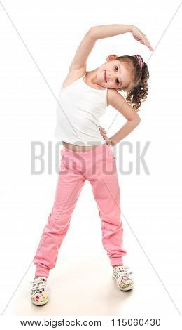 Cute Little Girl Doing Gymnastic Exercise