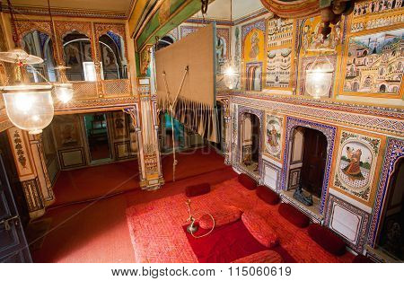 Many Frescos Inside The Haveli Mansion Of Rich Indian Family