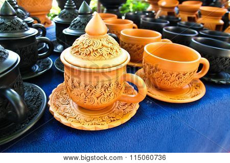 Thai Traditional Clay Pottery In Koh Kret Island, Thailand.
