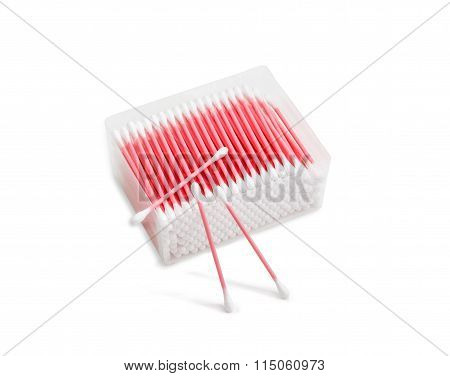 Pink Cotton Buds On A Light Background