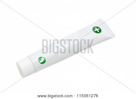 Tube Of Cream For Feet Care On A Light Background