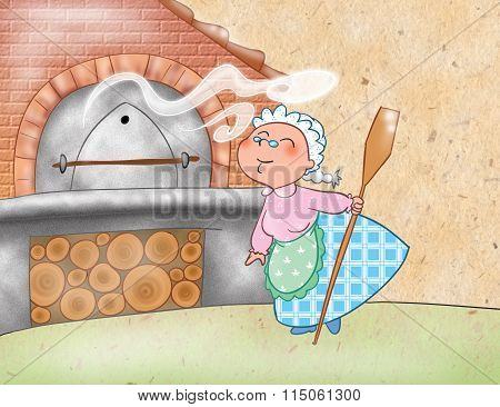 Woman cooking with a wood-burning oven