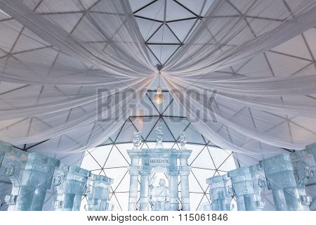 HREBIENOK, SLOVAKIA - JAN 06 2016: Ice Altar in Tatras House, Hrebienok, High Tatras. It's an altar with statues build from ice.