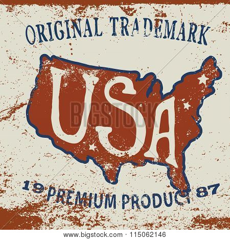 Vintage label of USA map