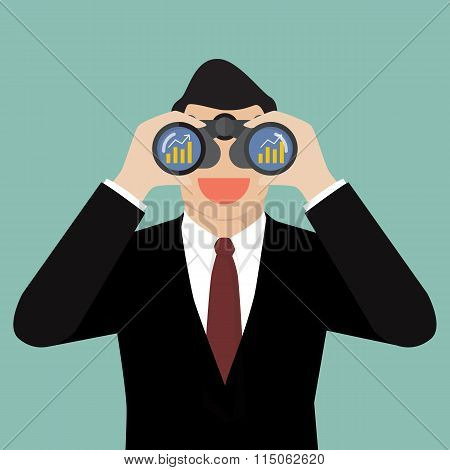 Businessman Use Binoculars Looking For Business Future