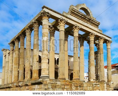 a view of the remains of the ancient roman Temple of Diana in Merida, Spain
