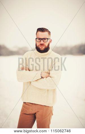 Handsome Senior Stylish Man With Haircut
