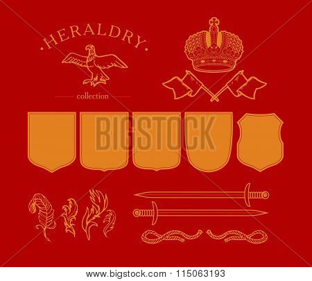 Vector elements coat of arms design