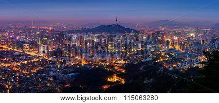 Panorama Of Seoul City Skyline , South Korea.