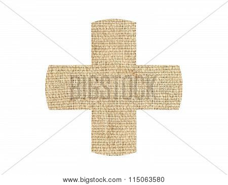 Medical Cross Patch Burlap Texture Isolated On White