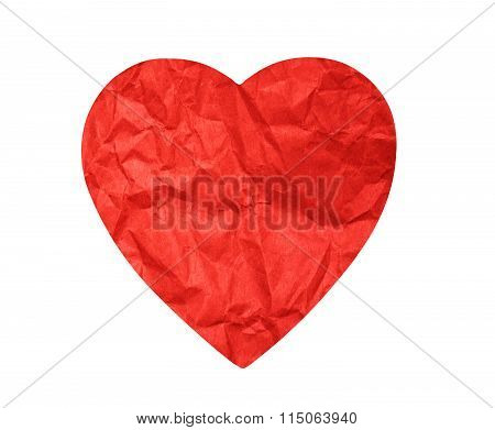 Crumpled Paper Heart On White Background