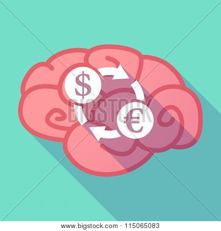 Long Shadow Brain With A Dollar Euro Exchange Sign