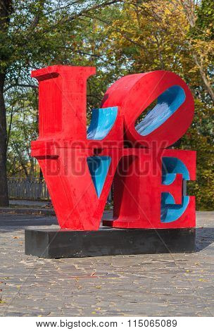 Kiev, Ukraine - October 02, 2015: Installation in large red letters stacked in the word