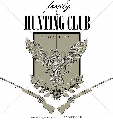 Vector flat logo for hunting club.