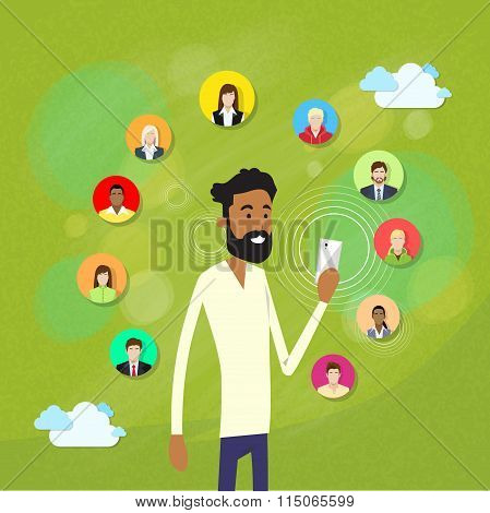 African American Man With Beard Using Smart Cell Phone Internet Chatting