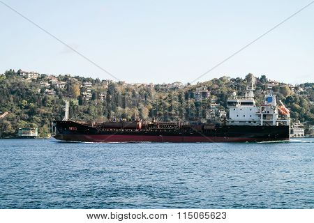 Cargo ship in Istanbul on the Bosporus
