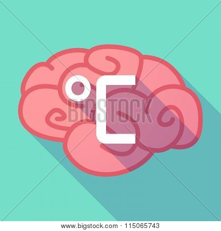 Long Shadow Brain With  A Celsius Degree Sign