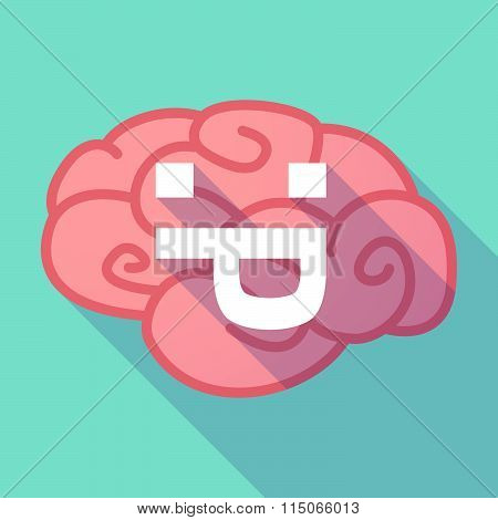 Long Shadow Brain With A Sticking Out Tongue Text Face