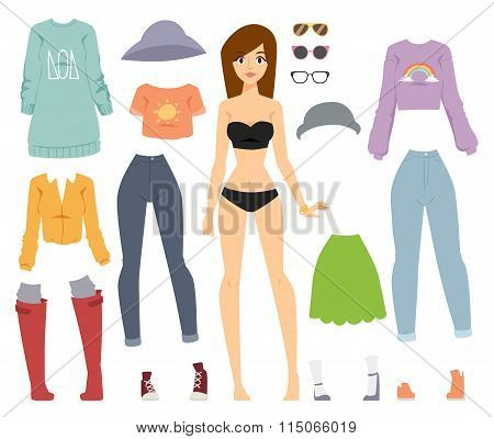 Beautiful vector cartoon fashion girl model standing over white background