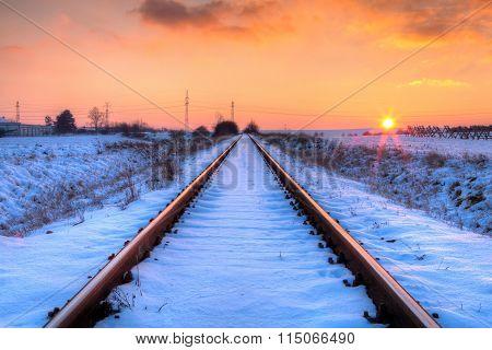 Sunset On The Abandoned Railway Tracks - Hdr Image