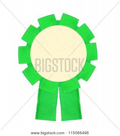 Blank Green Award Winning Ribbon Rosette Isolated On White Background