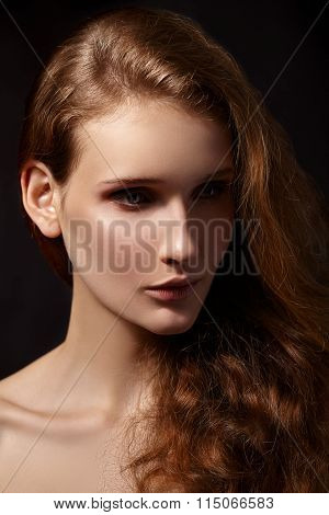 Beautiful woman with evening make-up.