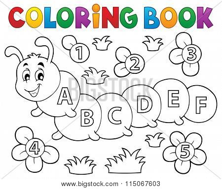 Coloring book caterpillar with letters - eps10 vector illustration.