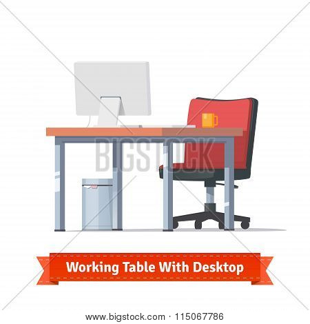 Workplace with desktop, wheelchair and a trashcan