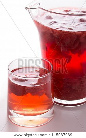 Red Strawberry Drink. Summer Fruit Compote On A White Background.