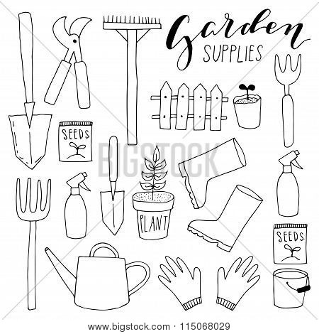 Hand drawn doodle icons. Gardening vector set.