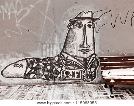 Moscow - 4 January, 2016: Beautiful Street Art Of Graffiti. Abstract Color Creative Drawing Fashion