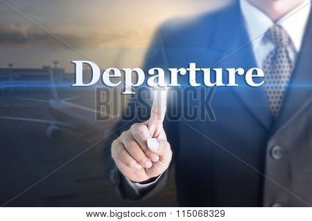 Businessman holding a white sign with the message Departure.