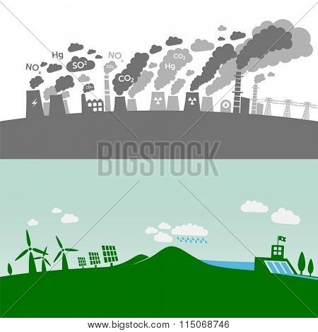 Pollution from classic power plants vs. green types of power plants (water, solar, geothermal, wind). Sustainable development theme.