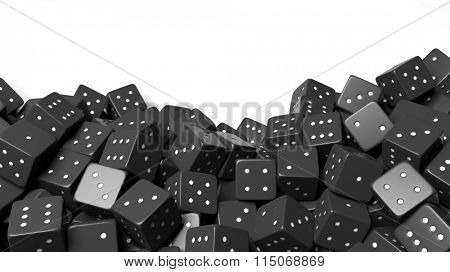 Pile of black random dices with copy-space, isolated on white background